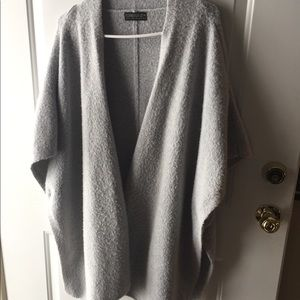 Grey fleece poncho